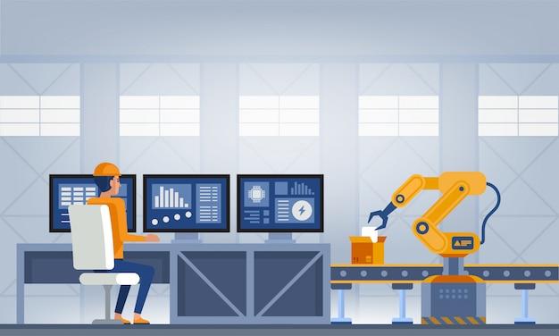 Industria 4.0 concepto de fábrica inteligente. ilustración de vector de tecnología