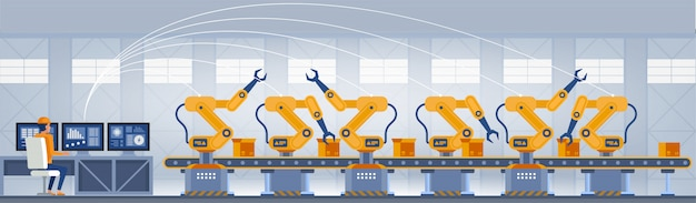 Industria 4.0 concepto de fábrica inteligente. tecnología vector illustrati