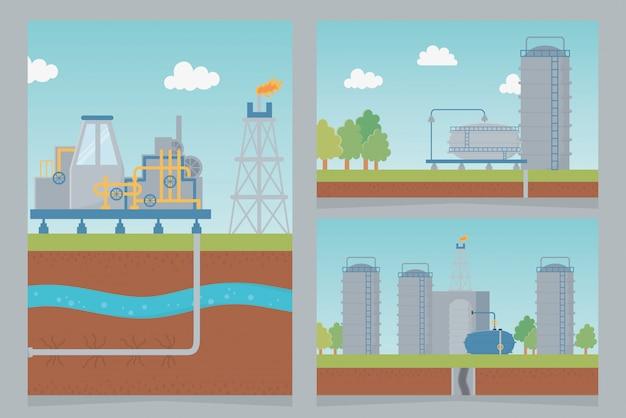 Industria de almacenamiento proceso de petróleo exploración fracking