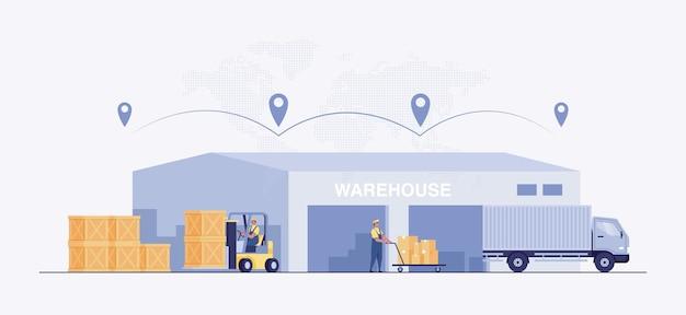 Industria de almacenes con naves de almacenamiento, montacargas y estanterías con cajas.