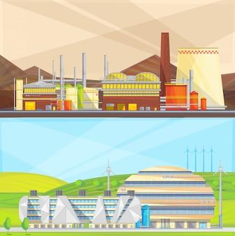 Industria ecológica limpia que convierte los residuos en energía y utiliza energía eólica.