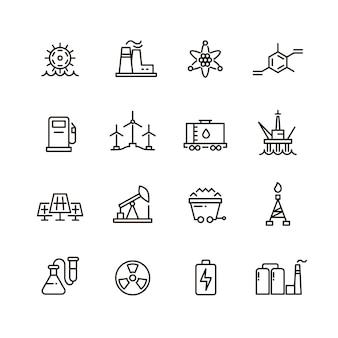 Industria de energía y fábrica de energía iconos de línea industrial moderna