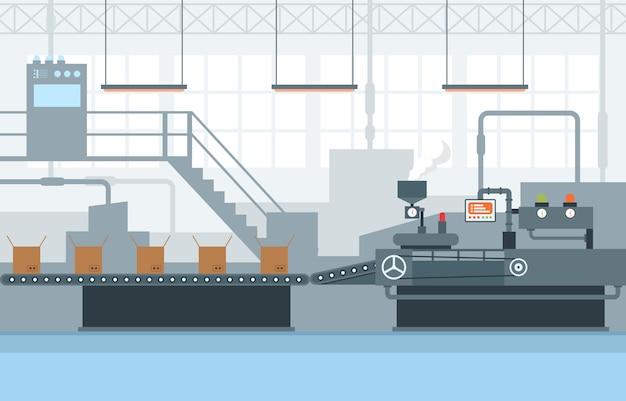 Industria fábrica concepto transportador producción automática ensamblaje robótico ilustración