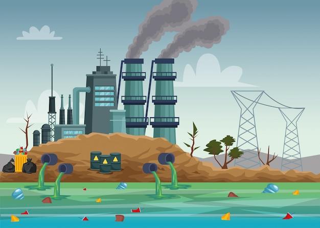 Industria de la fábrica contaminando la escena del agua