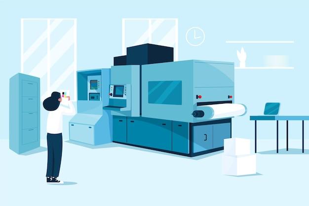 Industria de impresión de diseño plano orgánico
