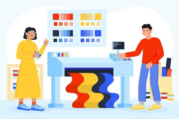 Industria de la impresión de ilustraciones planas