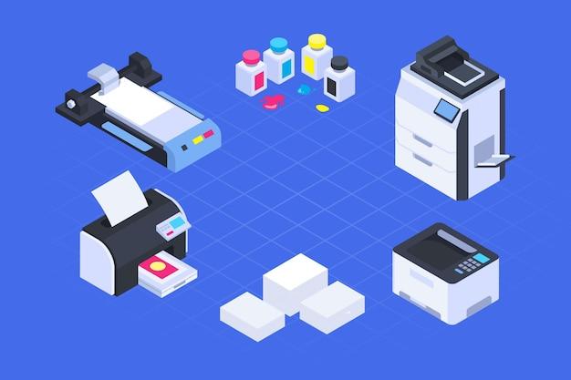 Industria de la impresión isométrica ilustrada.