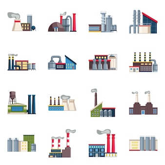 Industria de objetos aislados y planta. establecer industria y construcción
