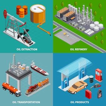 Industria de petróleo equipo de extracción refinería y transporte 2x2 colorido concepto isométrico 3d ilustración vectorial aislado