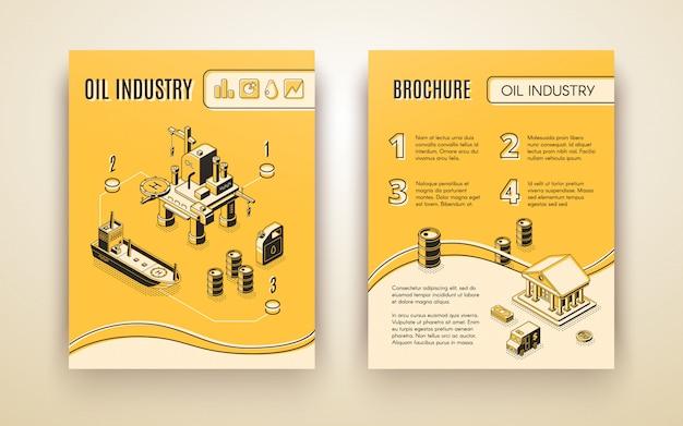 Industria del petróleo, folleto de la compañía de producción de petróleo, cubierta del informe anual