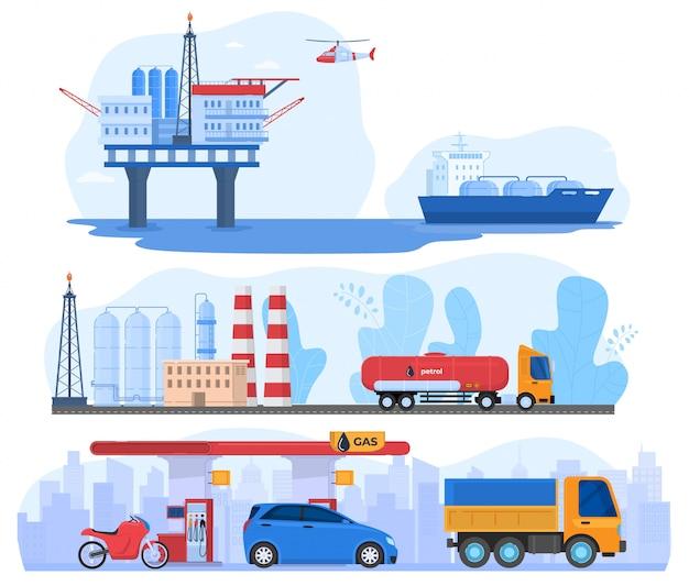 Industria de petróleo y gas, estación de procesamiento y transporte de distribución logística, ilustración