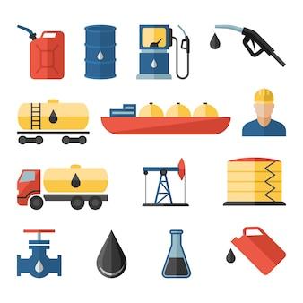 Industria petrolera perforación proceso de refinación petróleo transporte iconos conjunto