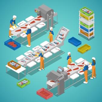Industria piscícola con transportador y trabajadores. vector ilustración isométrica 3d plana