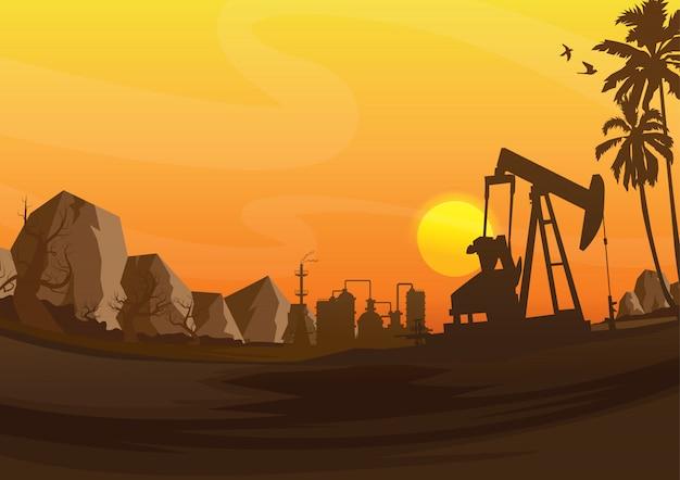 La industria de la plataforma petrolera siluetea el fondo, ilustración.
