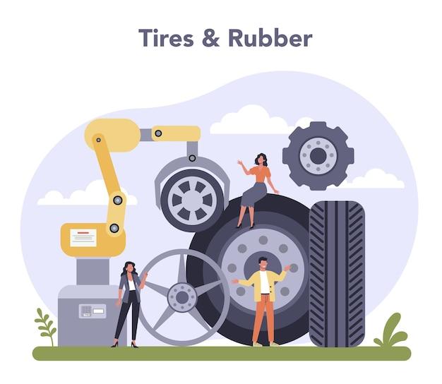 Industria de producción de repuestos. industria de neumáticos y caucho.