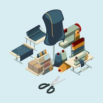 Industria textil. concepto de herramientas de manufactura de costura de composición de producción de bordado