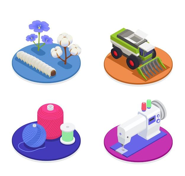 Industria textil e hilatura 2x2 concepto de diseño con maquinaria de cosecha algodón y lino flores algodón y lana hilos máquina de coser composiciones isométricas ilustración