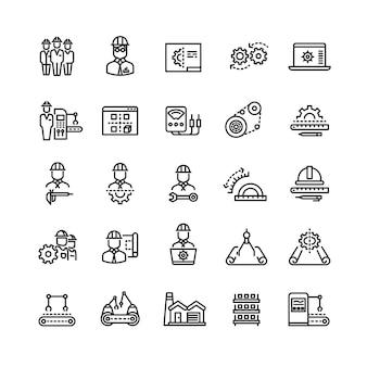 Industria de vectores ingeniería mecánica iconos de línea delgada
