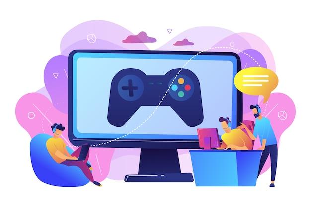 Industria de los videojuegos, formación en cibersport. entrenamiento de deportes electrónicos, lecciones con jugadores profesionales, plataforma de entrenamiento de deportes electrónicos, juega como un concepto profesional.