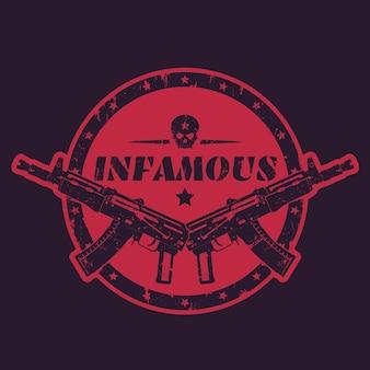 Infame, estampado redondo, emblema, placa con pistolas automáticas y calavera