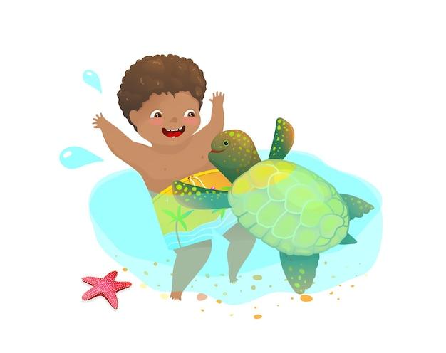 Infancia feliz jugando con tortugas marinas salvajes, niño pequeño y un lindo animal acuático nadando juntos.