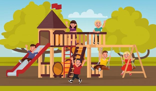 Infancia feliz. los niños juegan en el patio de recreo. ilustración