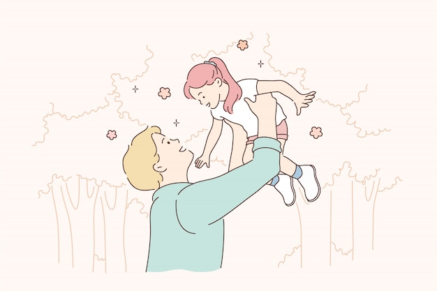 Infancia, paternidad, apoyo, concepto de juego.