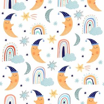 Infantil lindo patrón sin costuras con divertida luna y arco iris