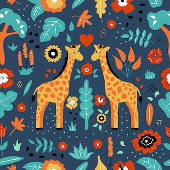 Infantil de patrones sin fisuras. cute dibujos animados doodle par de jirafa. plantas y flores tropicales exóticas.