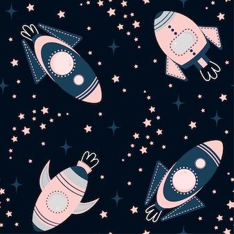 Infantil de patrones sin fisuras con elementos espacio, cohete, estrella