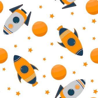 Infantil de patrones sin fisuras con naves espaciales y planetas