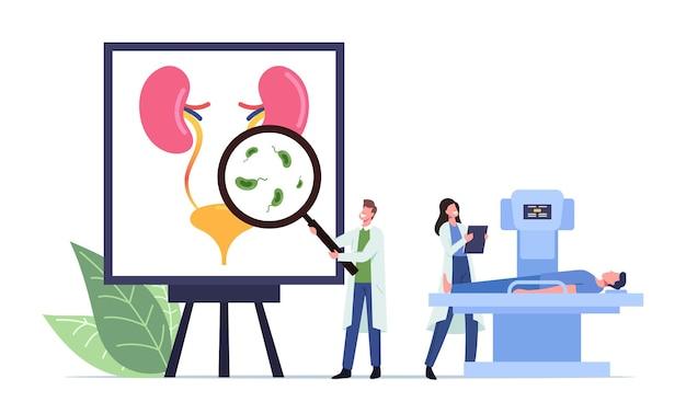 Infección del tracto urinario, concepto médico de uti con pequeños médicos y paciente enfermo en personajes de resonancia magnética en enorme cartel anatómico con órganos urinarios, vejiga y riñones