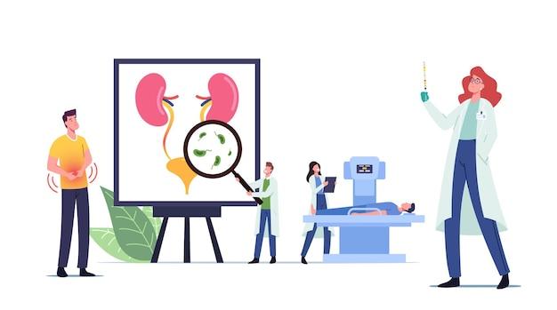 Infección del tracto urinario, concepto médico de uti con pequeños médicos y personajes de pacientes enfermos en un enorme cartel anatómico con órganos internos del urinario, vejiga y riñones. ilustración de vector de gente de dibujos animados