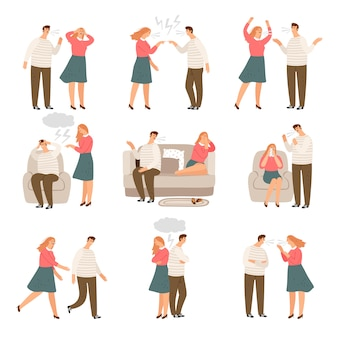 Infeliz familia. marido y mujer o pareja de personas durante los personajes del vector de conflicto