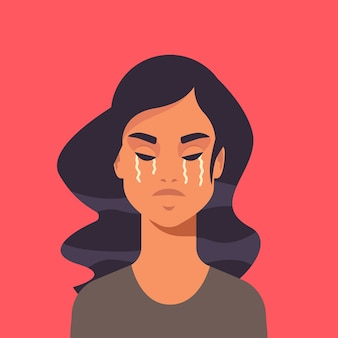 Infeliz niña aterrorizada llorando detener la violencia y la agresión contra las mujeres concepto retrato ilustración vectorial