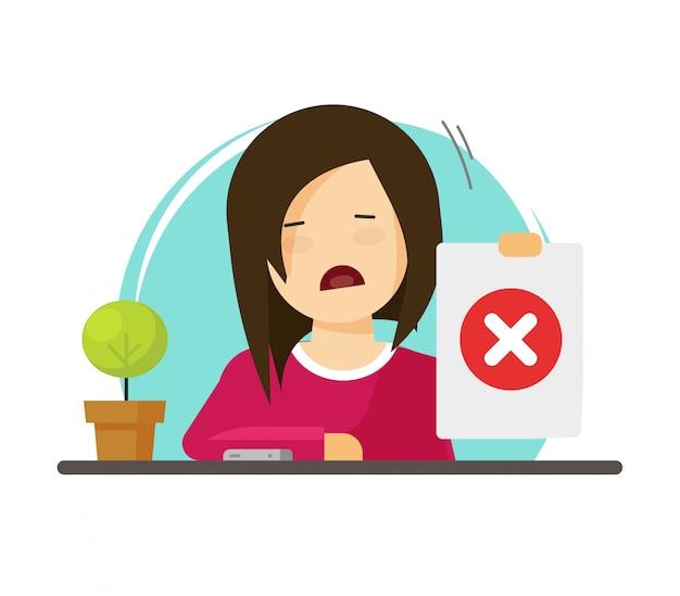 Infeliz personaje de niña o mujer persona que muestra una respuesta negativa