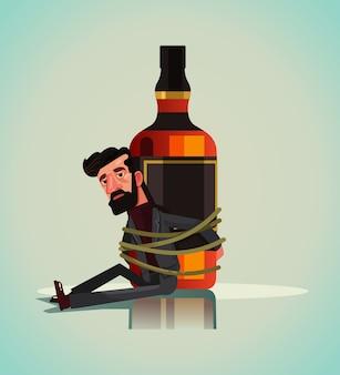 Infeliz triste personaje de hombre alcohólico encadenado atado a botella de bebida de cerveza vodka whisky.