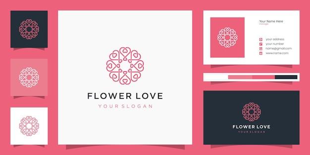Infinito amor corazón símbolo círculo redondeado ornamento monograma logo y tarjeta de visita