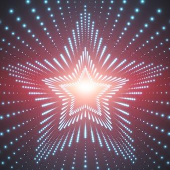 Infinito túnel de estrellas de bengalas brillantes sobre fondo rojo.