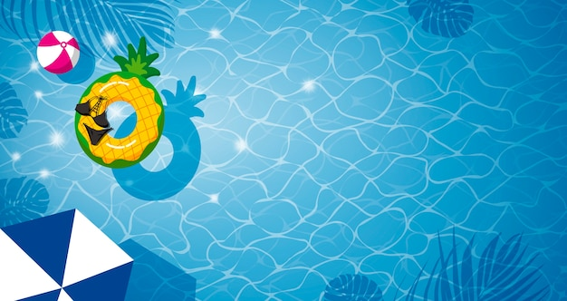 Inflable de piña en la piscina