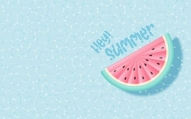 Inflable sandía flotando en la piscina con estilo artístico en 3d y papel y color pastel