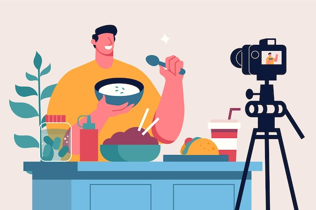 Influencer grabando nueva ilustración de video