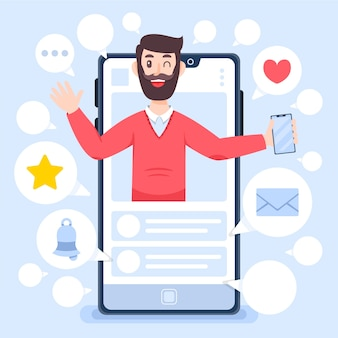 Influencer hombre y revisión de blogs