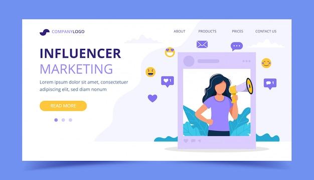 Influencer marketing página de inicio con mujer con megáfono en el marco del perfil social.