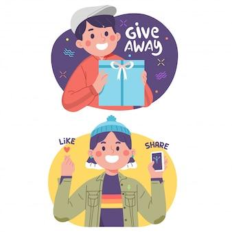 Influencer posar para regalar regalos y compartir amor