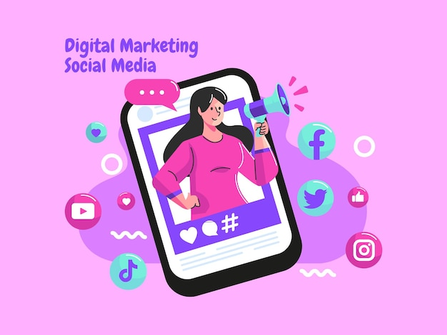 Influencer y promover las redes sociales con megáfono.