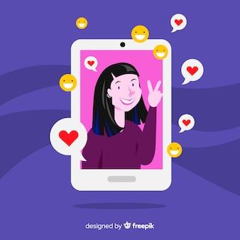 Influencer en redes sociales en diseño plano