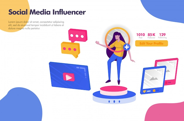 Influencer de redes sociales con seguidores y banner de iconos