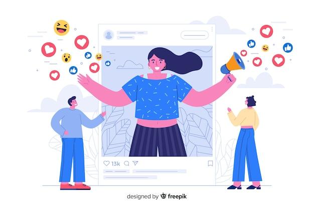 Influenciadores en la página de inicio de las redes sociales
