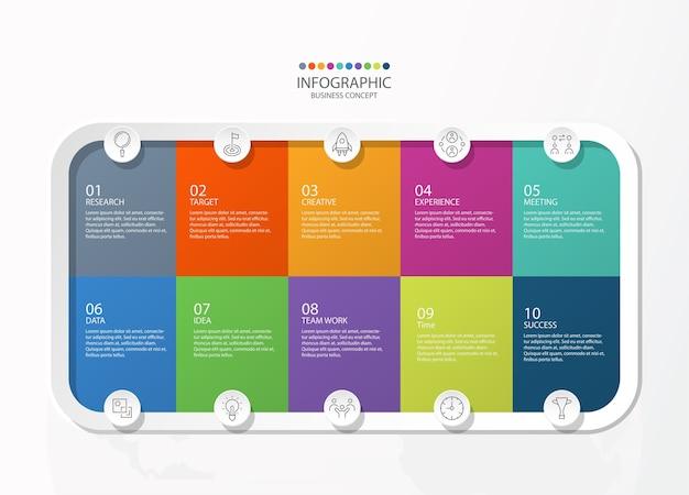 Infografía 10 elementos de colores cuadrados y básicos para el concepto de negocio actual.